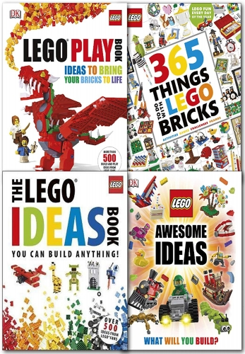 LEGO 4 Books Collection Set 365 Things to Do with LEGO Bricks, The LEGO Ideas Book You Can Build Anything, LEGO Awesome Ideas, LEGO Play Book by DK